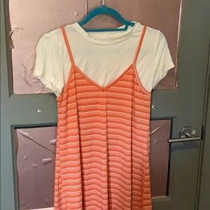 Orange swing dress with layered effect